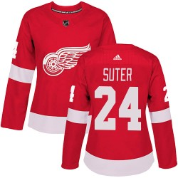Pius Suter Detroit Red Wings Women's Adidas Authentic Red Home Jersey