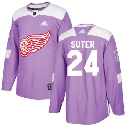 Pius Suter Detroit Red Wings Youth Adidas Authentic Purple Hockey Fights Cancer Practice Jersey