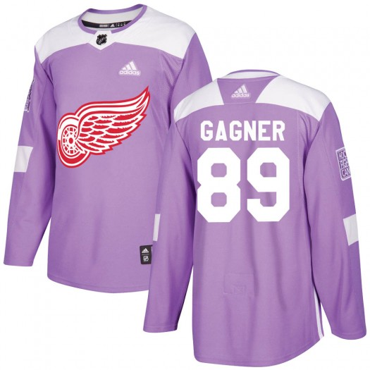 Sam Gagner Detroit Red Wings Men's Adidas Authentic Purple ized Hockey Fights Cancer Practice Jersey