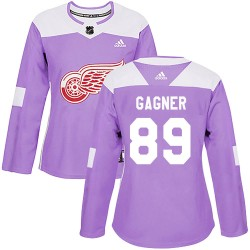 Sam Gagner Detroit Red Wings Women's Adidas Authentic Purple ized Hockey Fights Cancer Practice Jersey