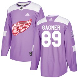 Sam Gagner Detroit Red Wings Youth Adidas Authentic Purple ized Hockey Fights Cancer Practice Jersey