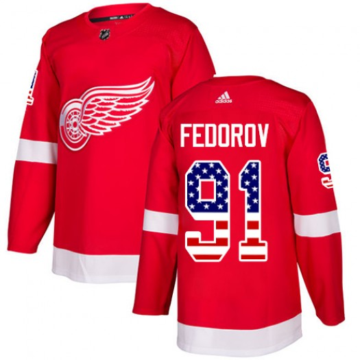 Sergei Fedorov Detroit Red Wings Men's Adidas Authentic Red USA Flag Fashion Jersey