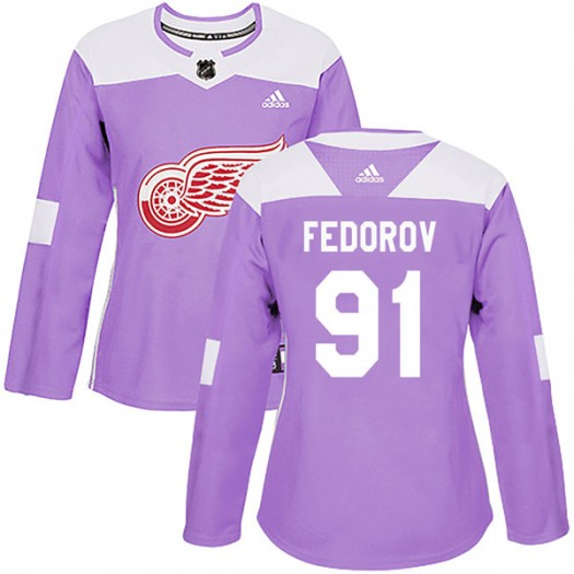 Sergei Fedorov Detroit Red Wings Women's Adidas Authentic Purple Hockey Fights Cancer Practice Jersey