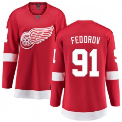 Sergei Fedorov Detroit Red Wings Women's Fanatics Branded Red Home Breakaway Jersey