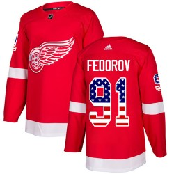 Sergei Fedorov Detroit Red Wings Youth Adidas Authentic Red USA Flag Fashion Jersey