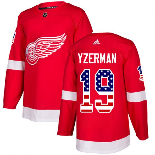Steve Yzerman Detroit Red Wings Men's Adidas Authentic Red USA Flag Fashion Jersey