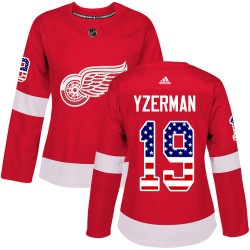Steve Yzerman Detroit Red Wings Women's Adidas Authentic Red USA Flag Fashion Jersey