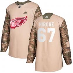 Taro Hirose Detroit Red Wings Men's Adidas Authentic Camo Veterans Day Practice Jersey