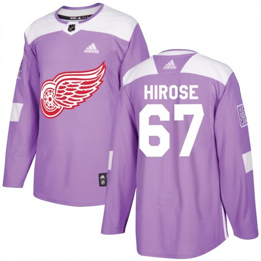 Taro Hirose Detroit Red Wings Men's Adidas Authentic Purple Hockey Fights Cancer Practice Jersey