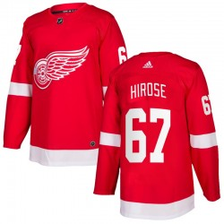Taro Hirose Detroit Red Wings Men's Adidas Authentic Red Home Jersey