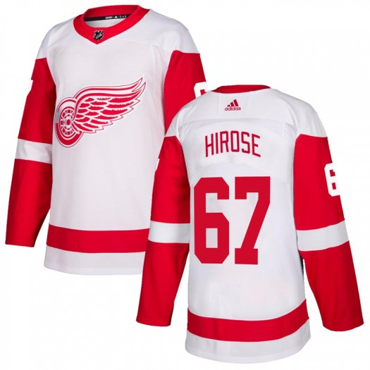 Taro Hirose Detroit Red Wings Men's Adidas Authentic White Jersey