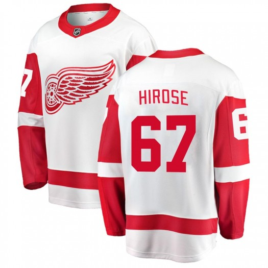 Taro Hirose Detroit Red Wings Men's Fanatics Branded White Breakaway Away Jersey
