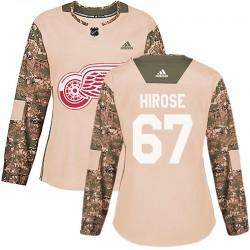 Taro Hirose Detroit Red Wings Women's Adidas Authentic Camo Veterans Day Practice Jersey