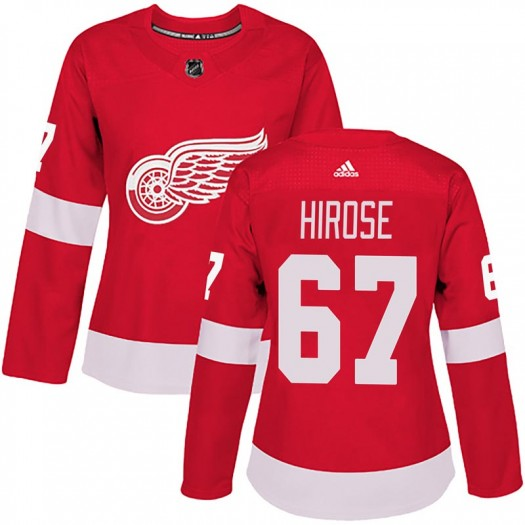Taro Hirose Detroit Red Wings Women's Adidas Authentic Red Home Jersey