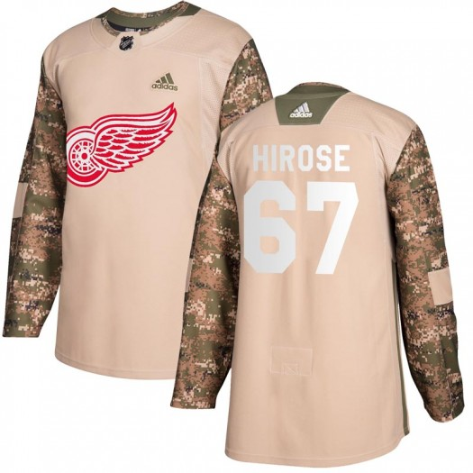 Taro Hirose Detroit Red Wings Youth Adidas Authentic Camo Veterans Day Practice Jersey