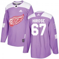 Taro Hirose Detroit Red Wings Youth Adidas Authentic Purple Hockey Fights Cancer Practice Jersey