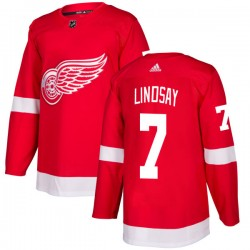 Ted Lindsay Detroit Red Wings Men's Adidas Authentic Red Jersey