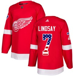 Ted Lindsay Detroit Red Wings Men's Adidas Authentic Red USA Flag Fashion Jersey