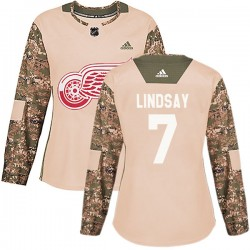 Ted Lindsay Detroit Red Wings Women's Adidas Authentic Camo Veterans Day Practice Jersey