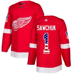 Terry Sawchuk Detroit Red Wings Men's Adidas Authentic Red USA Flag Fashion Jersey