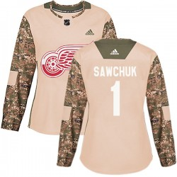 Terry Sawchuk Detroit Red Wings Women's Adidas Authentic Camo Veterans Day Practice Jersey