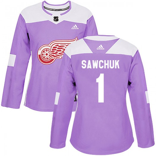 Terry Sawchuk Detroit Red Wings Women's Adidas Authentic Purple Hockey Fights Cancer Practice Jersey
