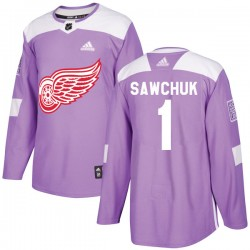 Terry Sawchuk Detroit Red Wings Youth Adidas Authentic Purple Hockey Fights Cancer Practice Jersey