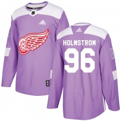 Tomas Holmstrom Detroit Red Wings Youth Adidas Authentic Purple Hockey Fights Cancer Practice Jersey
