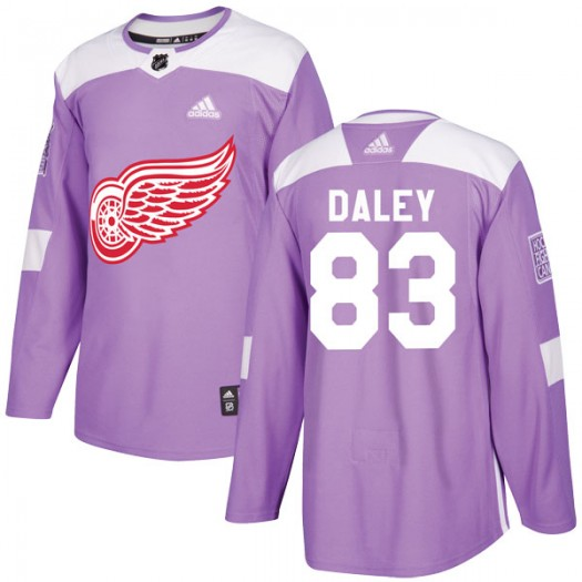 Trevor Daley Detroit Red Wings Youth Adidas Authentic Purple Hockey Fights Cancer Practice Jersey
