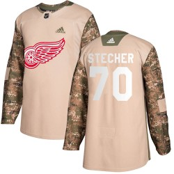 Troy Stecher Detroit Red Wings Men's Adidas Authentic Camo Veterans Day Practice Jersey