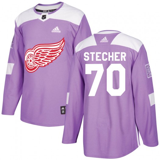 Troy Stecher Detroit Red Wings Men's Adidas Authentic Purple Hockey Fights Cancer Practice Jersey