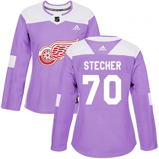 Troy Stecher Detroit Red Wings Women's Adidas Authentic Purple Hockey Fights Cancer Practice Jersey