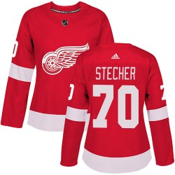 Troy Stecher Detroit Red Wings Women's Adidas Authentic Red Home Jersey