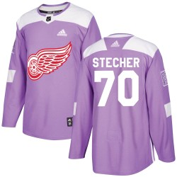 Troy Stecher Detroit Red Wings Youth Adidas Authentic Purple Hockey Fights Cancer Practice Jersey