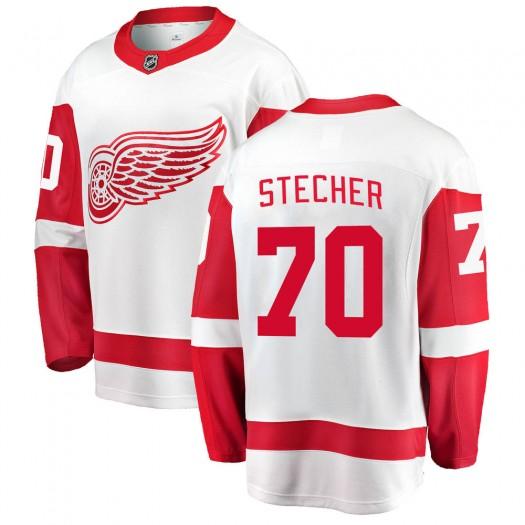 Troy Stecher Detroit Red Wings Youth Fanatics Branded White Breakaway Away Jersey