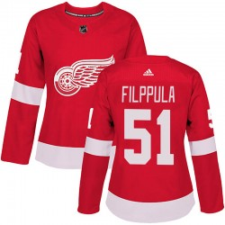 Valtteri Filppula Detroit Red Wings Women's Adidas Authentic Red Home Jersey