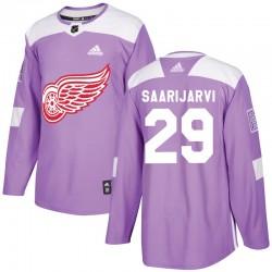 Vili Saarijarvi Detroit Red Wings Men's Adidas Authentic Purple Hockey Fights Cancer Practice Jersey