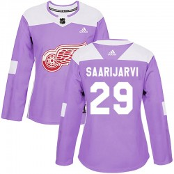 Vili Saarijarvi Detroit Red Wings Women's Adidas Authentic Purple Hockey Fights Cancer Practice Jersey