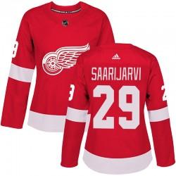 Vili Saarijarvi Detroit Red Wings Women's Adidas Authentic Red Home Jersey