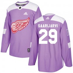 Vili Saarijarvi Detroit Red Wings Youth Adidas Authentic Purple Hockey Fights Cancer Practice Jersey