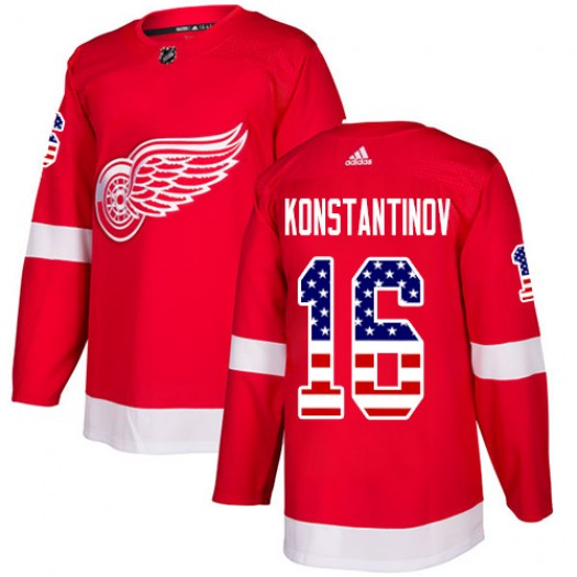 Vladimir Konstantinov Detroit Red Wings Men's Adidas Authentic Red USA Flag Fashion Jersey