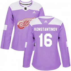 Vladimir Konstantinov Detroit Red Wings Women's Adidas Authentic Purple Hockey Fights Cancer Practice Jersey