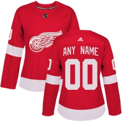 Women's Adidas Detroit Red Wings Customized Authentic Red Home Jersey