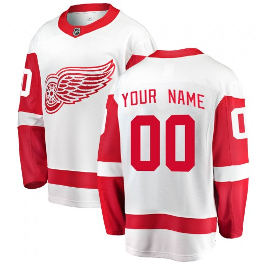 Youth Fanatics Branded Detroit Red Wings Customized Breakaway White Away Jersey