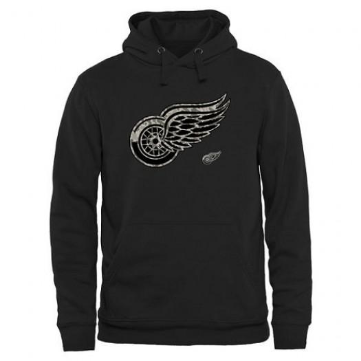 Detroit Red Wings Men's Black Rink Warrior Pullover Hoodie