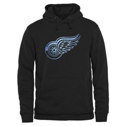 Detroit Red Wings Men's Black Rinkside Pond Hockey Pullover Hoodie -