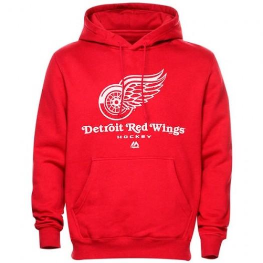 Detroit Red Wings Men's Majestic Critical Victory VIII Fleece HoodieSteel