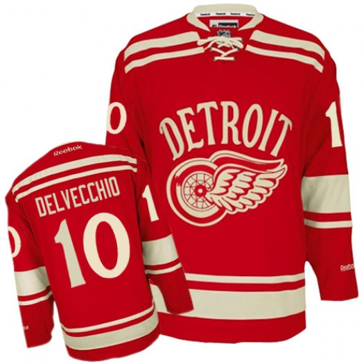 Alex Delvecchio Detroit Red Wings Men's Reebok Authentic Red 2014 Winter Classic Jersey