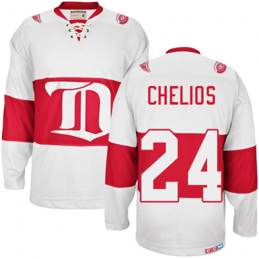 Chris Chelios Detroit Red Wings Men's CCM Authentic White Winter Classic Throwback Jersey