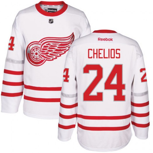 Chris Chelios Detroit Red Wings Men's Reebok Authentic White 2017 Centennial Classic Jersey